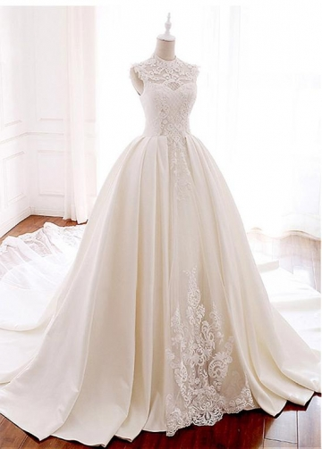 Marvelous Tulle & Satin Illusion High Collar Ball Gown Wedding Dress With Lace Appliques & Beadings