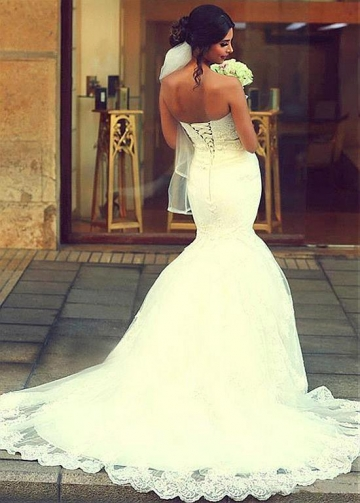 Marvelous Tulle Sweetheart Neckline Mermaid Wedding Dresses With Beadings & Lace Appliques