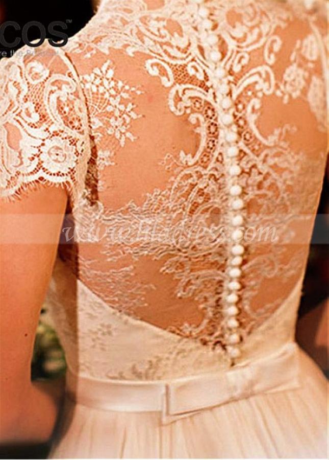 Delicate Lace & Chiffon Scoop Neckline A-line Wedding Dress With Belt