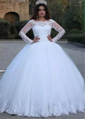 Vintage Tulle Bateau Neckline Ball Gown Wedding Dress With Lace Appliques & Beadings