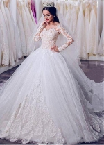 Junoesque Tulle Sheer Jewel Neckline Ball Gown Wedding Dress With Beadings & Lace Appliques
