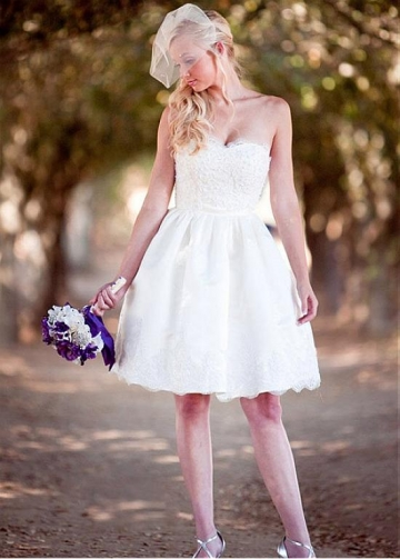 Pretty Satin Sweetheart Neckline Short A-line Wedding Dress With Lace Appliques & Beadings