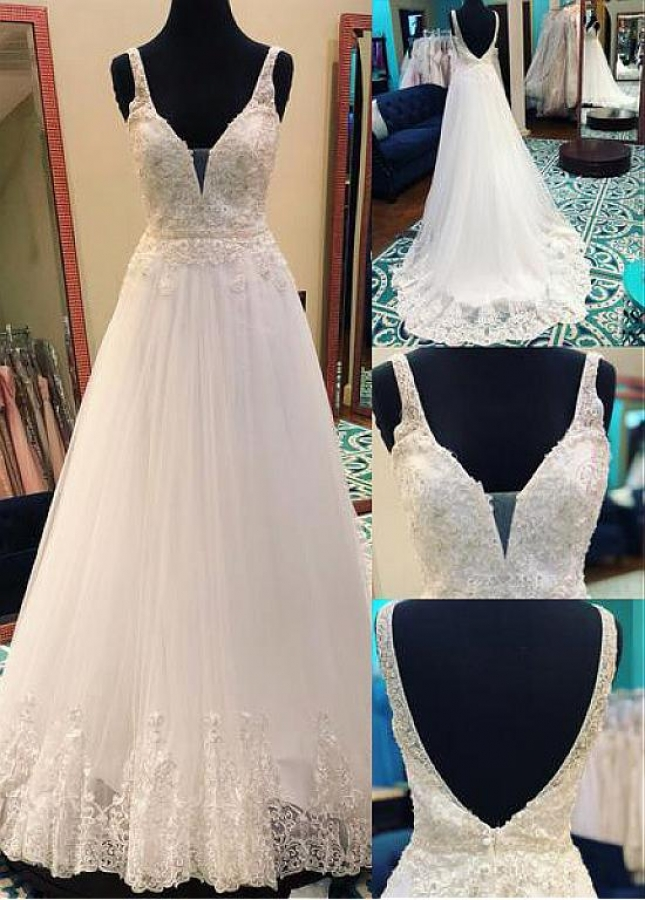 Fabulous Tulle V-neck Neckline A-line Wedding Dress With Lace Appliques & Beadings