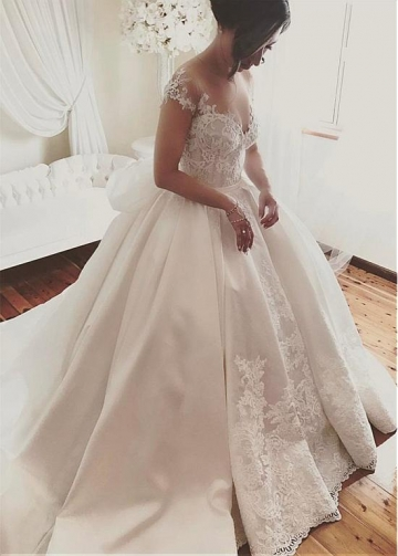 Fascinating Tulle & Satin Sheer Jewel Neckline Ball Gown Wedding Dress With Lace Appliques & Belt & Bowknot