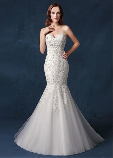 Brilliant Tulle Sweetheart Neckline Natural Waistline Mermaid Wedding Dress With Sequin Lace Appliques & Beadings