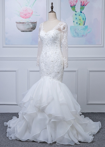 Fantastic Tulle & Organza Satin V-neck Neckline Mermaid Wedding Dress With Beaded Lace Appliques & Ruffles