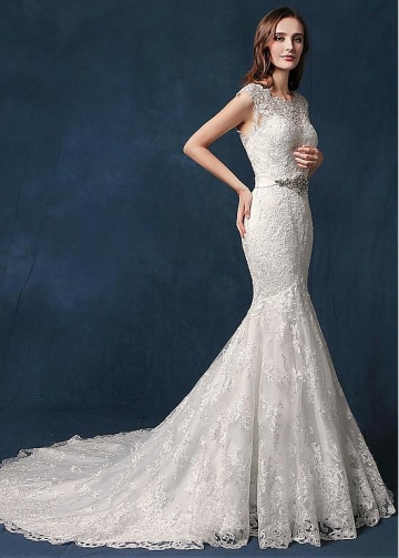 Elegant Tulle Jewel Neckline Natural Waistline Mermaid Wedding Dress With Lace Appliques & Belt