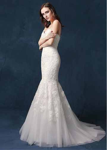 Graceful Tulle Sweetheart Neckline Mermaid Wedding Dress With Beadings & Lace Appliques