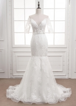 Exquisite Tulle Sheer Jewel Neckline See-through Mermaid Wedding Dress With Lace Appliques & Belt