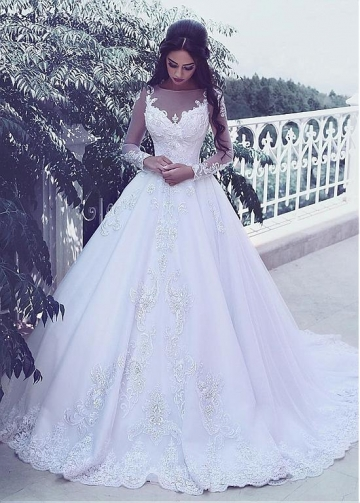 Marvelous Tulle Bateau Neckline A-line Wedding Dresses With Lace Appliques & Beadings