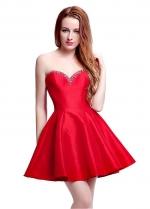 Elegant Taffeta Sweetheart Neckline Mini-length A-Line Homecoming Dresses With Beadings