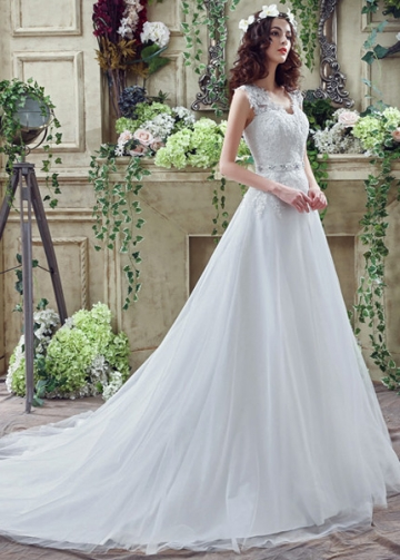 Elegant Tulle V-Neck A-line Wedding Dresses With Lace Appliques