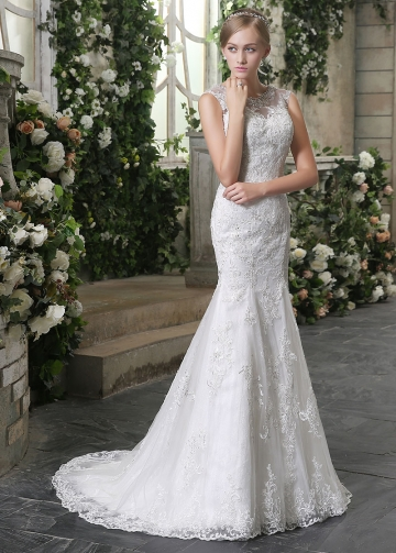 Gorgeous Tulle Bateau Neckline Mermaid Wedding Dresses With Lace Appliques