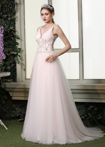 Chic Tulle V-neck Neckline A-line Wedding Dresses