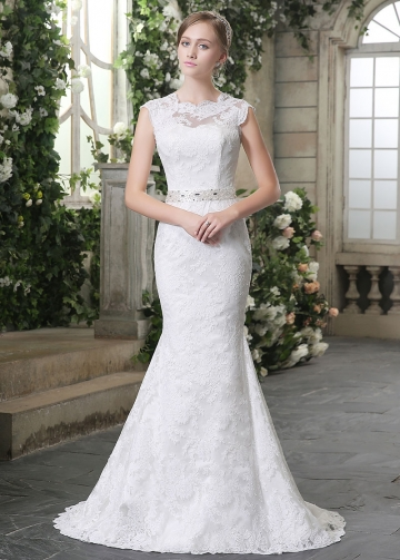 Elegant Lace Bateau Neckline Mermaid Wedding Dresses