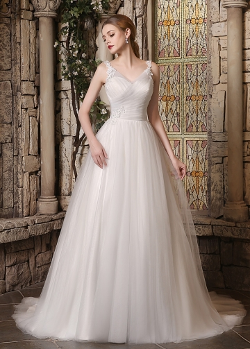 Elegant Tulle V-neck Neckline A-line Wedding Dresses