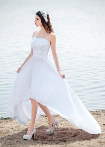 Chic Taffeta Strapless Neckline Hi-lo A-line Wedding Dresses