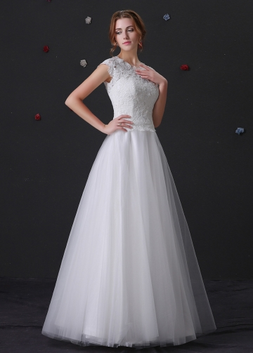 Glamorous Tulle Jewel Neckline A-line Wedding Dress With Lace Appliques