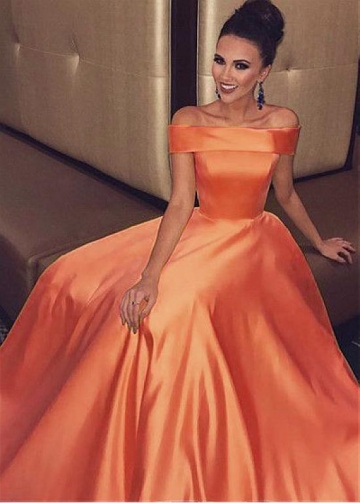 Gorgeous Satin Off-the-shoulder Neckline Floor-length A-line Evening Dresses