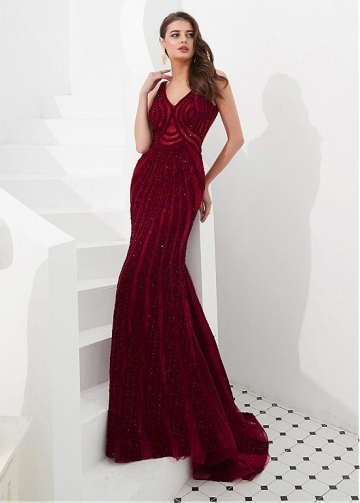 Splendid Lace V-neck Neckline Floor-length Mermaid Evening Dresses With Beadings