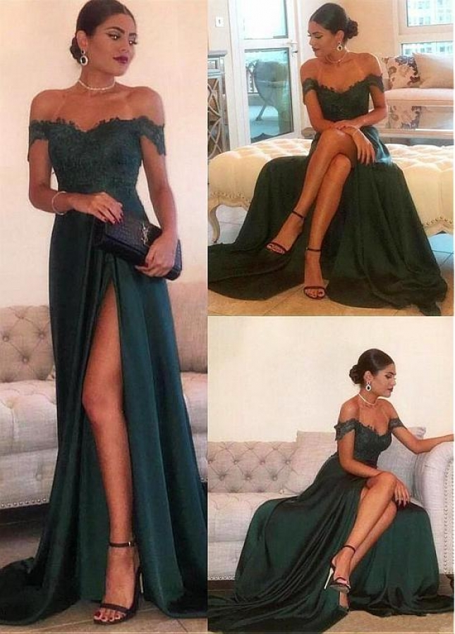 Eye-catching Silk Like Satin Off-the-shoulder Neckline Floor-length A-line Evening Dresses With Lace Appliques