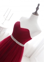 Alluring Tulle Sweetheart Neckline Floor-length A-line Prom Dresses With Beadings