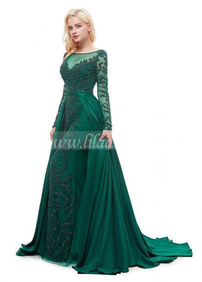 Brilliant Taffeta Bateau Neckline Floor-length A-line Formal Dress With Beadings