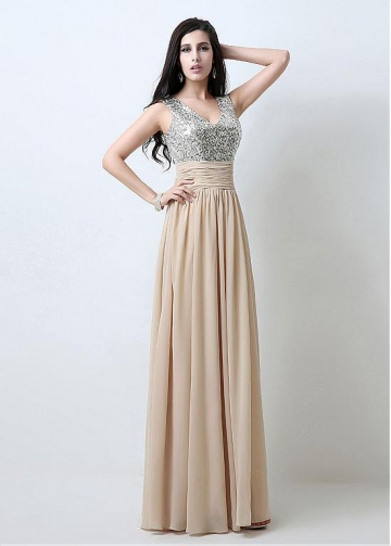 Marvelous Chiffon V-neck Neckline Sheath Evening Dresses With Sequin Lace