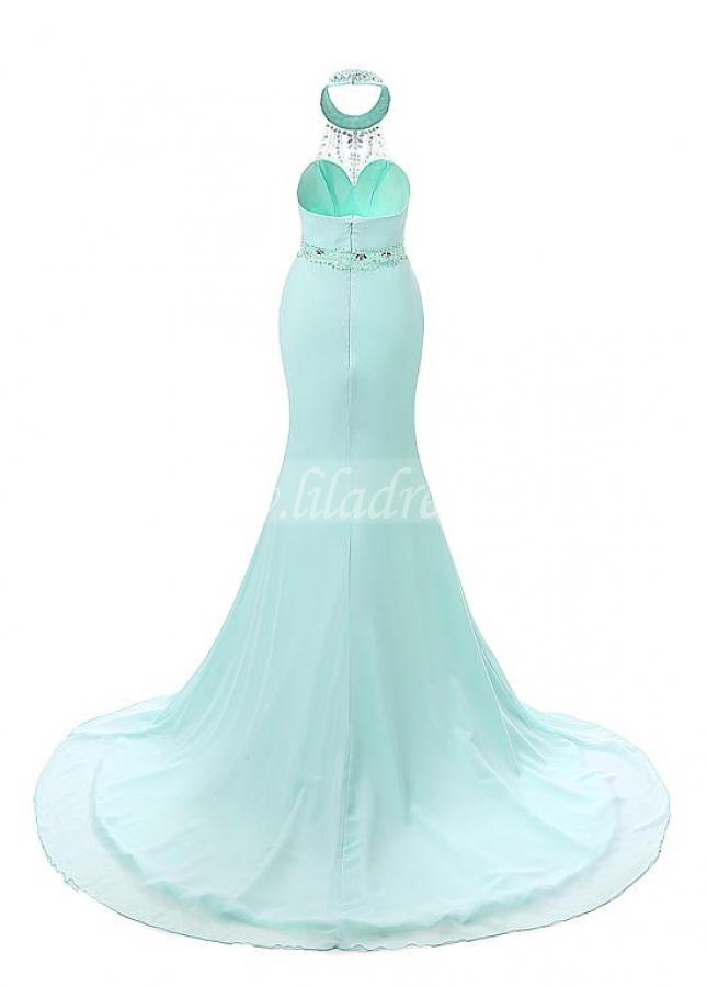 Glamorous Chiffon Halter Neckline Mermaid Evening Dresses With Beads & Rhinestones