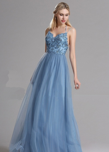Spaghetti Straps A-line Tulle Blue Prom Long Dresses with Lace Bodice