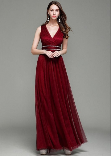 Stunning Tulle V-neck Neckline Floor-length A-line Prom Dress With Beadings