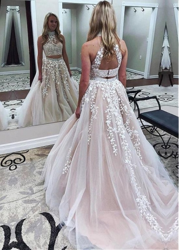 Sophisticated Tulle High Collar Neckline Two-piece A-line Evening Dress With Beaded Lace Appliques