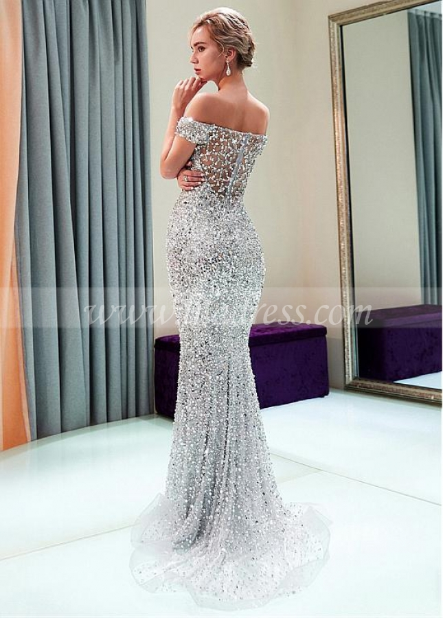 Charming Tulle Off-the-shoulder Neckline Mermaid Evening Dress With Beadings