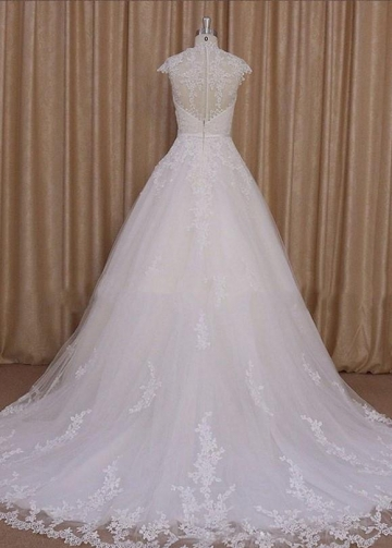 Classic A-line Appliques Tulle Wedding Dress Cap Sleeves