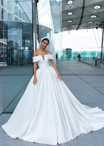 2020 White Satin Wedding Dress with Off-the-shoulder