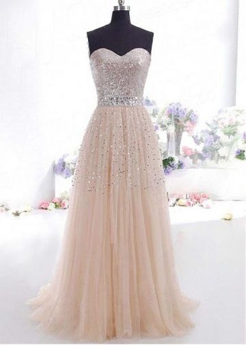 Chic Sequin Tulle Sweetheart Neckline A-line Evening Dress