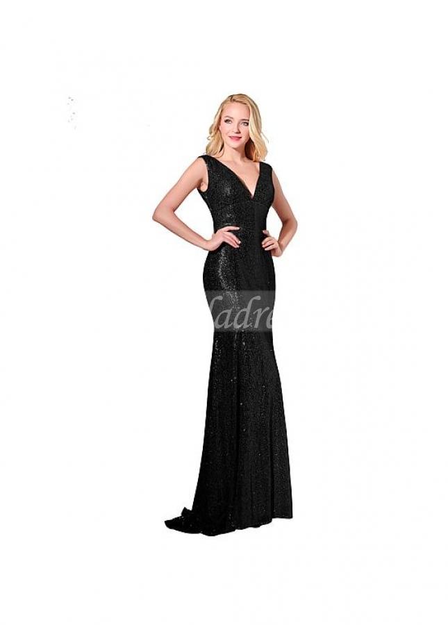 Chic Sequin Lace V-neck Neckline Sheath Evening Dresses