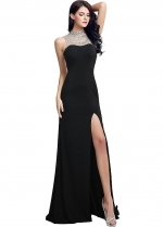 Amazing Black High Collar Cut-out Sheath Evening Dresses With Slit
