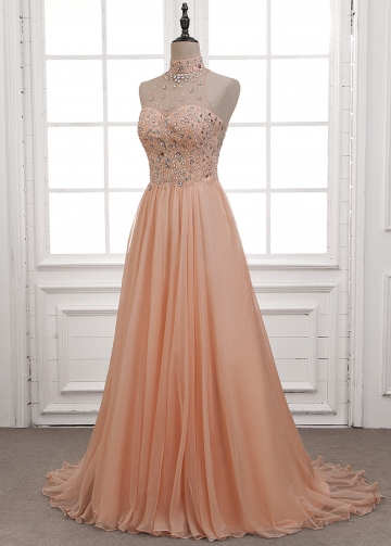 Graceful Chiffon High Collar Neckline A-Line Evening Dress With Beadings