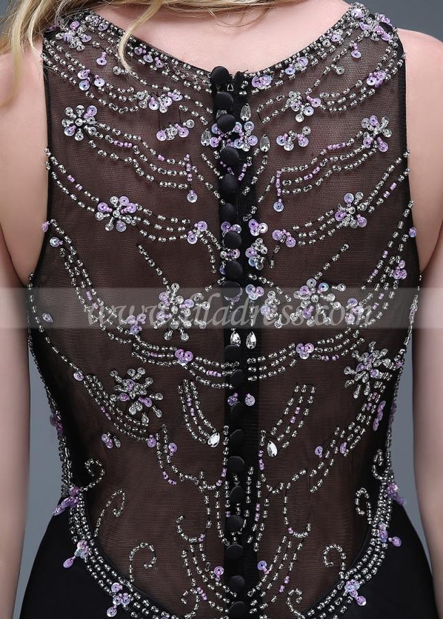 Elegant Satin Black Full-length Mermaid Evening Dresses