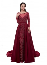 Excellent Taffeta & Tulle Scoop Neckline A-line Evening Dresses With Beadings