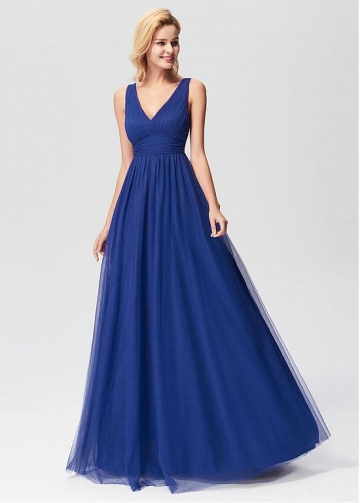 Elegant V-neck Neckline A-line Evening Dresses