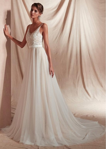 Elegant Tulle V-neck Neckline Floor-length A-line Evening Dresses With Appliques