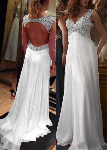 Fantastic Chiffon V-neck Neckline Floor-length A-line Prom Dresses