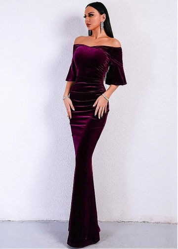 Elegant Velvet Off-the-shoulder Neckline Floor-length Mermaid Evening Dresses