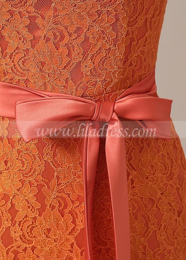 Elegant Lace V-neck Neckline Mermaid Orange Bridesmaid Dresses