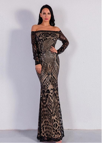 Newest Sequin Lace Off-the-shoulder Neckline Long Sleeves Sheath/Column Evening Dresses