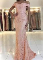 Fashionable Lace Off-the-shoulder Neckline Floor-length Mermaid Evening Dresses