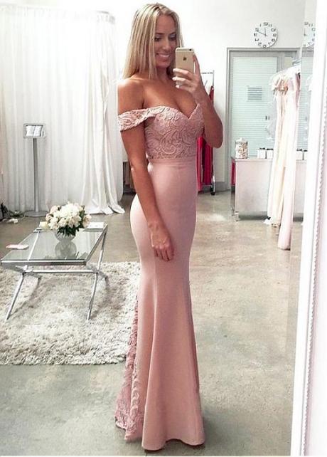 Chic Off-the-shoulder Neckline Floor-length Sheath/Column Prom Dresses With Belt