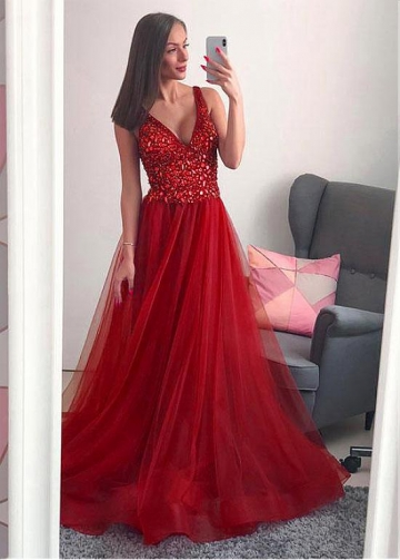 Marvelous Tulle V-neck Neckline Floor-length A-line Prom Dresses With Beadings